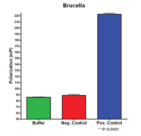 Figure 3. Comparison of Brucella Positive and Negative Control Polarization Values.