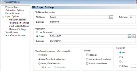 File Export Settings