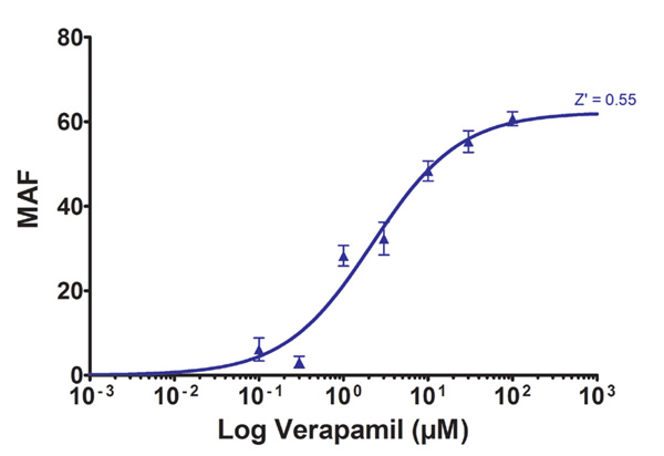 Effect of verapamil on MDR1 eFluxx-ID Green signal.in HepG2 cells