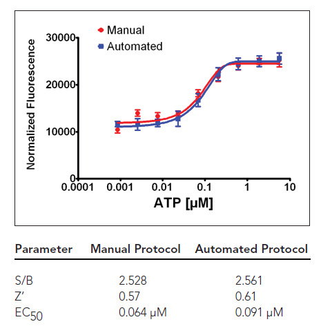 Comparison of manual and automated assay with ATP dose response curves in CHO-M1 cells, expressing P2Y endogenous receptors and graph statistics.