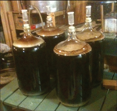 Glass fermentation carboys. Small batch brewing methods often employ the use of glass containers with liquid air-lock systems.