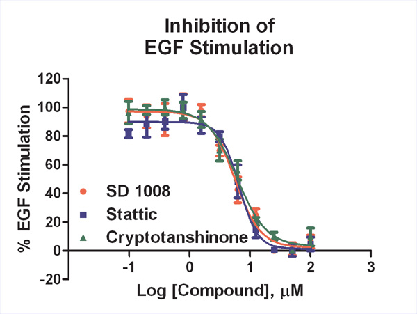 Inhibition of EGF-induced STAT3(Tyr705) phosphorylation using the small molecule inhibitors, SD 1008, stattic and cryptotanshinone.