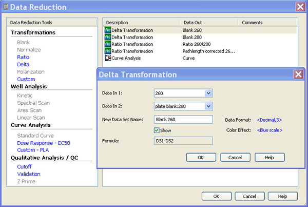 Representative dialogue box in Gen5 software data reduction for the delta transformation for blank subtraction of the A260 measurement