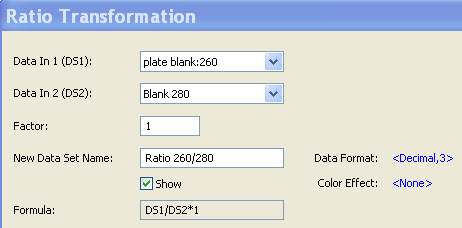 Representative dialogue box in Gen5 software data reduction for the ratio transformation for determination of the A260/A280 ratio for assessment of sample purity.