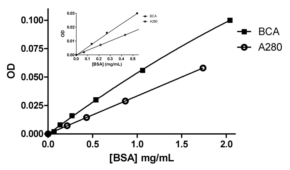 Calibration curves for the protein bovine serum albumin (BSA) using both native absorbance at A280 and with the colorimetric reagent BCA.