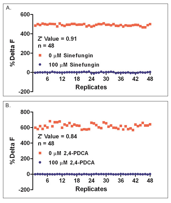 Z'-factor results for automated (A.) SET7/9 and (B.) JMJD2A assay methods, indicating excellent performance.