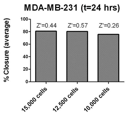ImageJ analysis of MDA-MB-231/GFP cell seeding density in 384-well format.