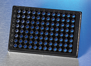 Black, clear bottom 96-well microplate suitable for optical microscopy