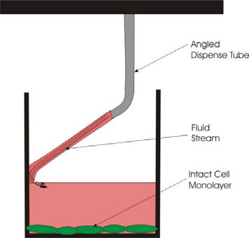 Schematic Depiction of Fluid Flow with Angled Dispenser Tips.