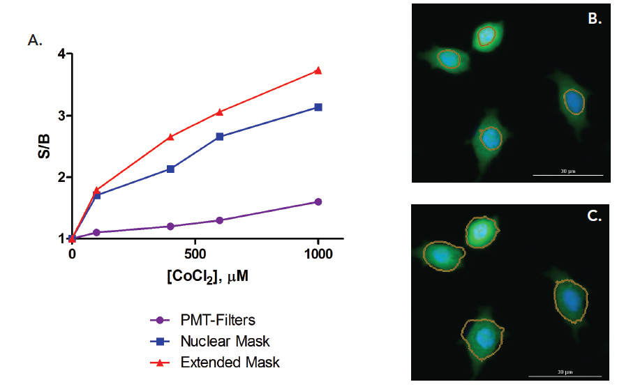 Comparison of assay performance quantifying ROS production associated with an oxidative stress phenotype as measured with PMT-based optics and spectral filters ( purple circles);