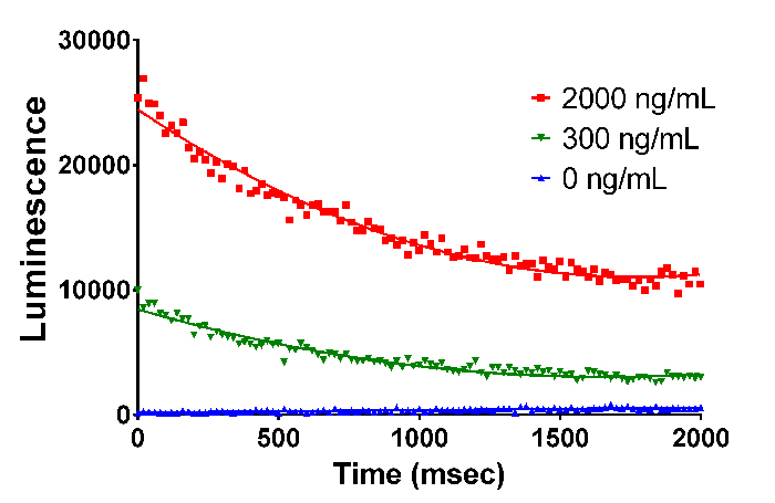 Kinetic luminescence of SPARCL assay for IgG at different concentrations.