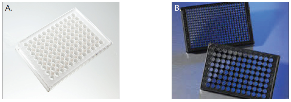 (A) Clear (Image courtesy of PerkinElmer, Inc.) and (B) black walled, clear bottom ULA spheroid microplates in 96- and 384-well configurations (Image courtesy of Corning, Inc.)