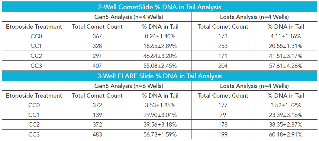 Percent DNA in tail analysis for 2-well and 3-well CometSlides using CometAssay Control Cells in the standard alkaline comet assay.