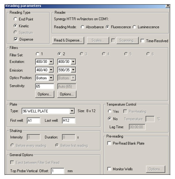 Screenshot from KC4 data reduction software depicting typical reading parameters for VSP assays.