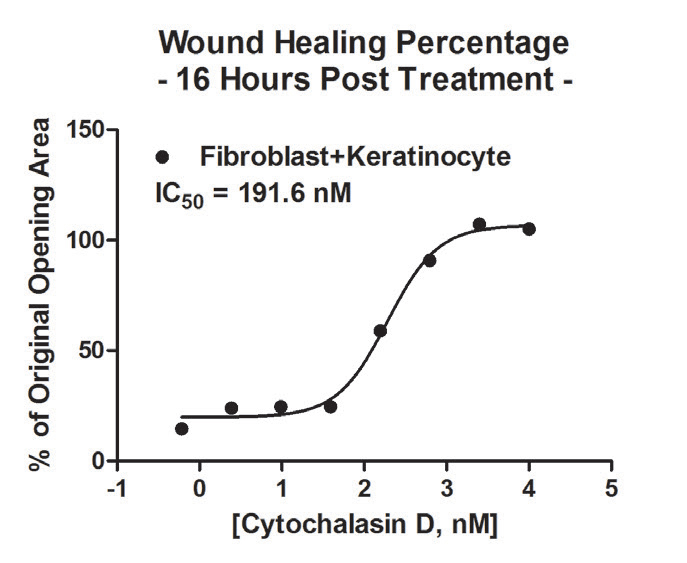 Co-culture post incubation wound healing IC50 calculation