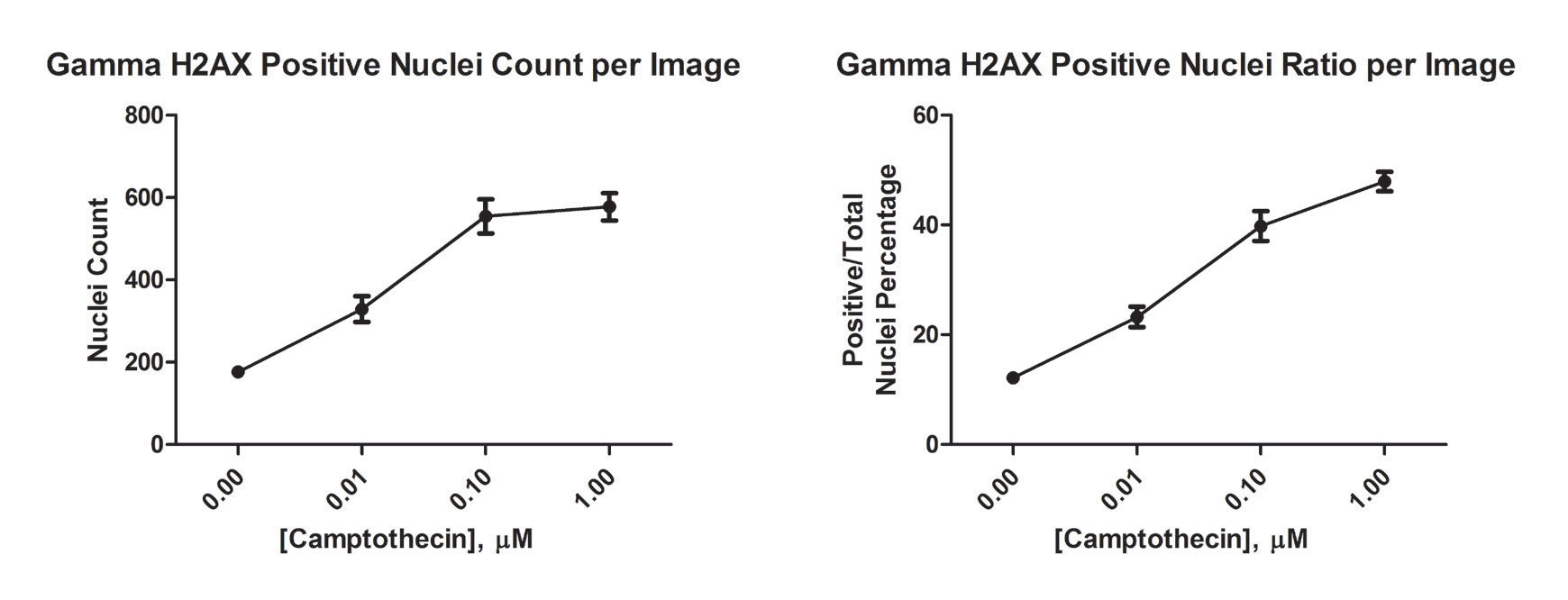 γH2AX positive (A) nuclei count and (B) ratio to total nuclei counted