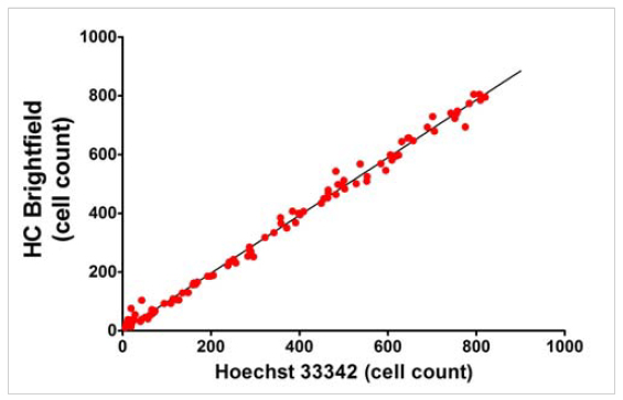 Comparison of HC Brightfield and Hoechst 33342 nuclear staining cell counting of live cells