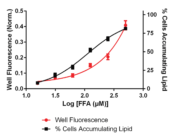 Lipid accumulation in Hep G2 cells treated with various concentrations of Free Fatty Acids.