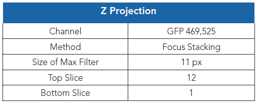 Gen5 Image Analysis software settings for Z-projection.