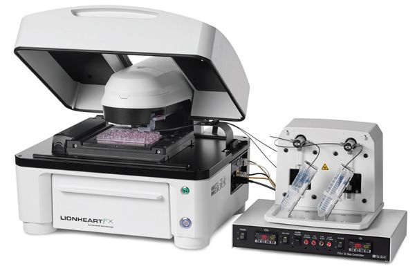 Lionheart FX Automated Microscope with dual reagent injector module.