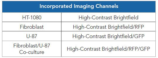 Included imaging channels per test cell model