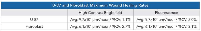 Maximum wound healing rates using high contrast brightfield or fluorescent signals for U-87 and fibroblast cell models.