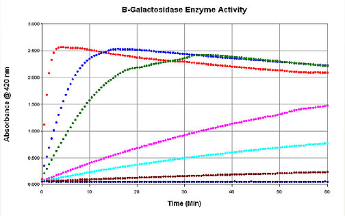 Kinetic reaction of various ß-galactosidase enzyme concentrations.