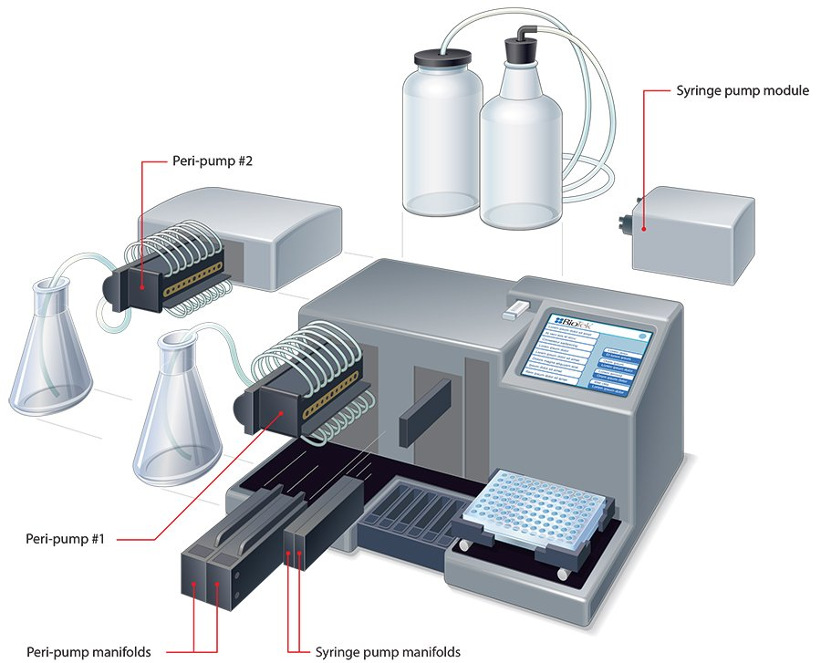 One or two peri-pumps, plus a dual syringe module can be added to the MultiFlo FX for Parallel Dispense capability.