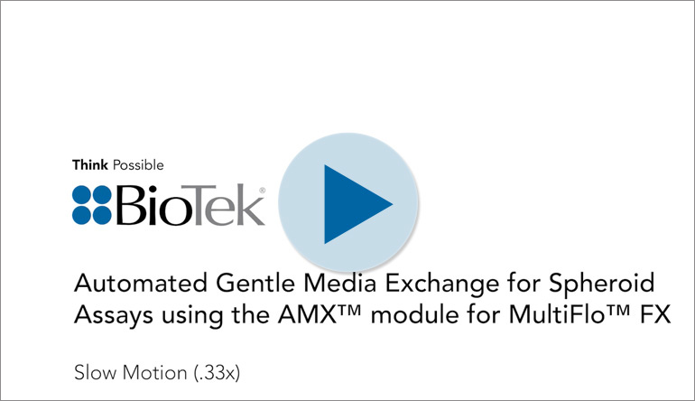 Automated Gentle Media Exchange for Spheroid Assays using the AMX module for MultiFlo FX.